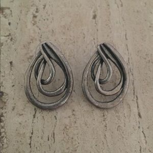 Chico's Wrapped Wire Earrings Pewter Look